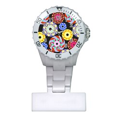 Colorful Retro Circular Pattern Plastic Nurses Watch