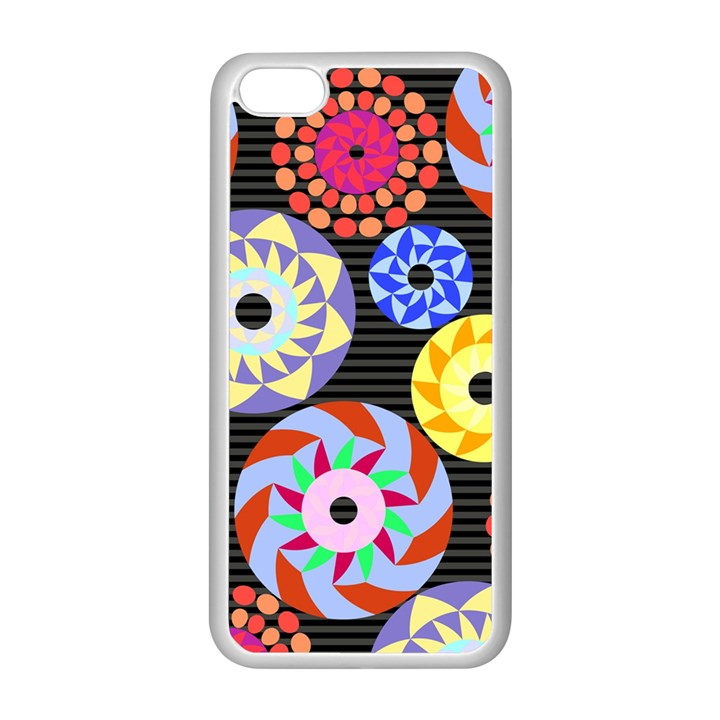 Colorful Retro Circular Pattern Apple iPhone 5C Seamless Case (White)