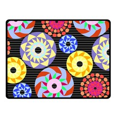 Colorful Retro Circular Pattern Double Sided Fleece Blanket (small)