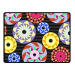 Colorful Retro Circular Pattern Double Sided Fleece Blanket (Small)  45 x34 Blanket Back