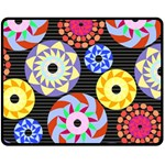 Colorful Retro Circular Pattern Double Sided Fleece Blanket (Medium)  60 x50 Blanket Back