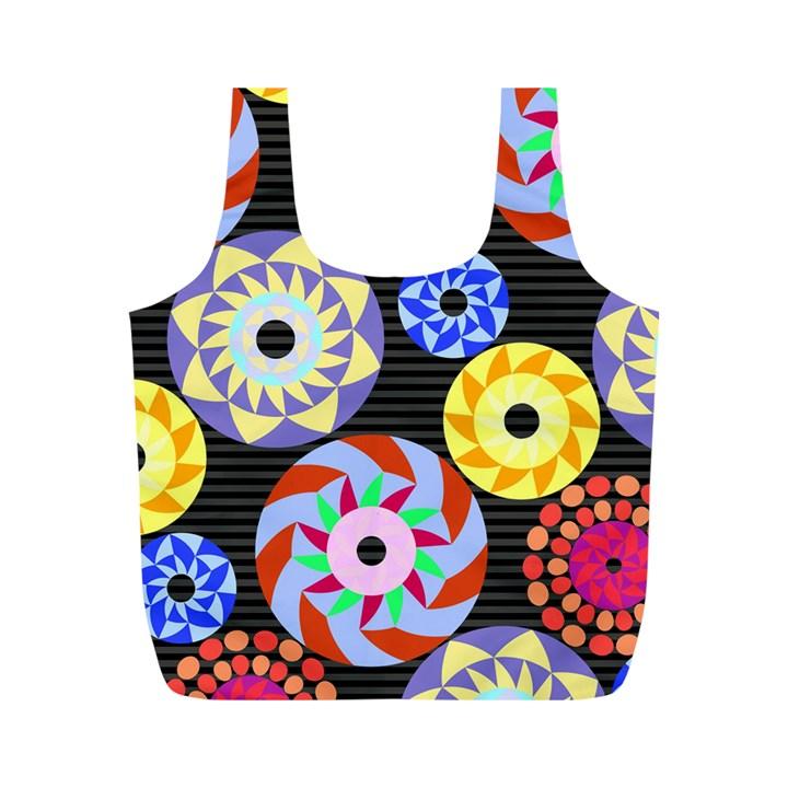 Colorful Retro Circular Pattern Full Print Recycle Bags (M)