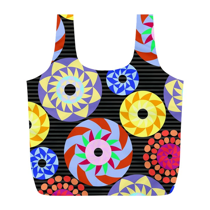 Colorful Retro Circular Pattern Full Print Recycle Bags (L)