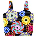 Colorful Retro Circular Pattern Full Print Recycle Bags (L)  Front
