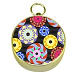 Colorful Retro Circular Pattern Gold Compasses Front