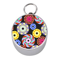Colorful Retro Circular Pattern Mini Silver Compasses