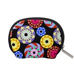 Colorful Retro Circular Pattern Accessory Pouches (Small)  Back
