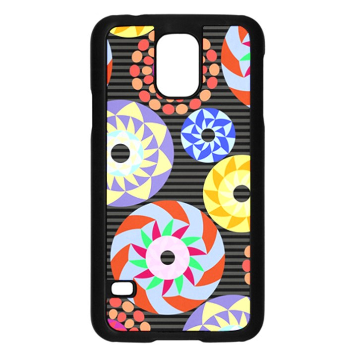 Colorful Retro Circular Pattern Samsung Galaxy S5 Case (Black)