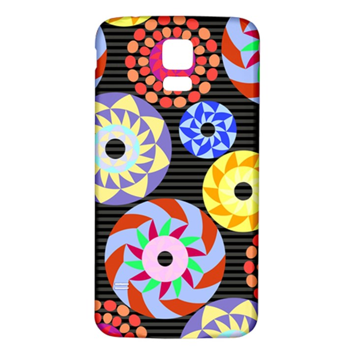 Colorful Retro Circular Pattern Samsung Galaxy S5 Back Case (White)