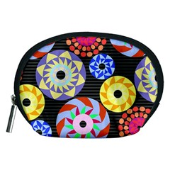 Colorful Retro Circular Pattern Accessory Pouches (medium)