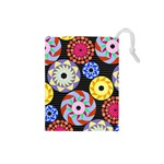 Colorful Retro Circular Pattern Drawstring Pouches (Small)  Front