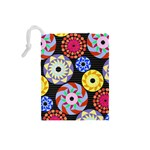Colorful Retro Circular Pattern Drawstring Pouches (Small)  Back