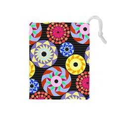 Colorful Retro Circular Pattern Drawstring Pouches (Medium)