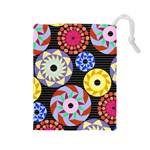 Colorful Retro Circular Pattern Drawstring Pouches (Large)  Front