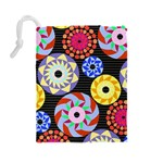 Colorful Retro Circular Pattern Drawstring Pouches (Large)  Back