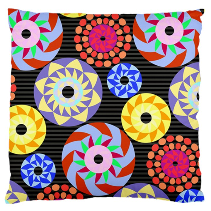 Colorful Retro Circular Pattern Large Flano Cushion Case (One Side)