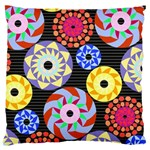 Colorful Retro Circular Pattern Large Flano Cushion Case (Two Sides) Back