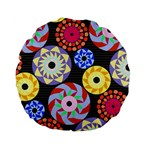 Colorful Retro Circular Pattern Standard 15  Premium Flano Round Cushions Back