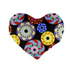 Colorful Retro Circular Pattern Standard 16  Premium Flano Heart Shape Cushions Front