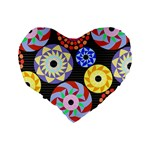 Colorful Retro Circular Pattern Standard 16  Premium Flano Heart Shape Cushions Back