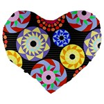 Colorful Retro Circular Pattern Large 19  Premium Flano Heart Shape Cushions Back