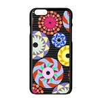 Colorful Retro Circular Pattern Apple iPhone 6/6S Black Enamel Case Front