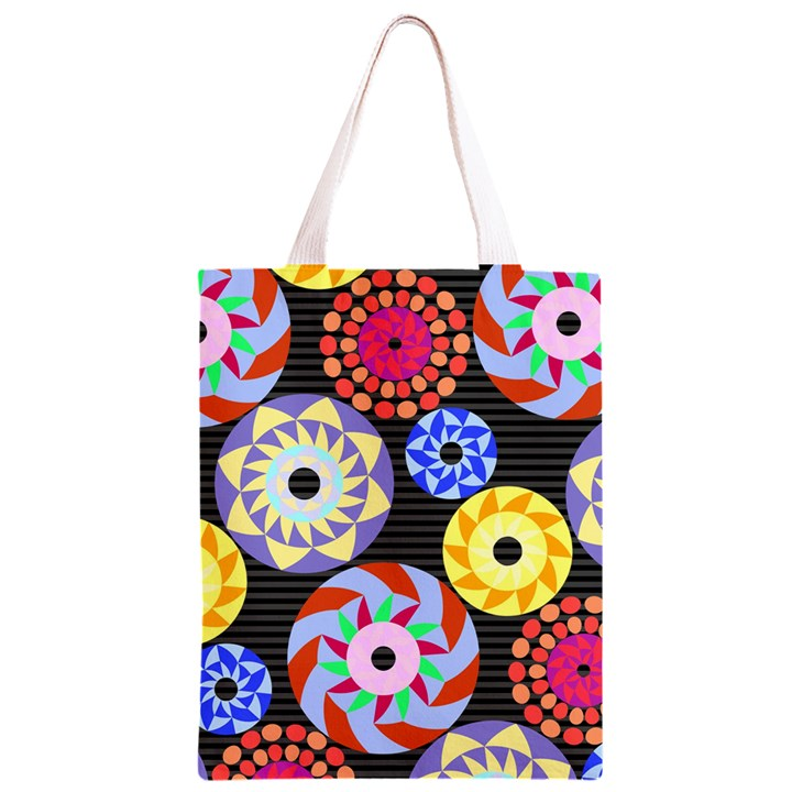Colorful Retro Circular Pattern Classic Light Tote Bag
