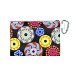 Colorful Retro Circular Pattern Canvas Cosmetic Bag (M) Back