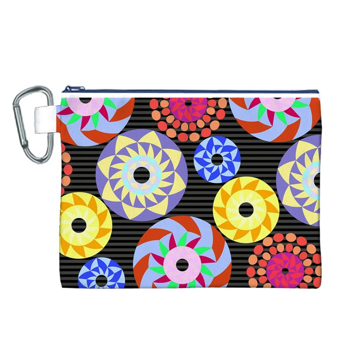 Colorful Retro Circular Pattern Canvas Cosmetic Bag (L)