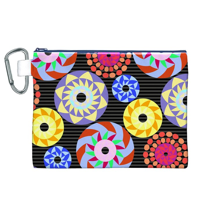 Colorful Retro Circular Pattern Canvas Cosmetic Bag (XL)