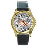 Paramore Is An American Rock Band Round Gold Metal Watch Front