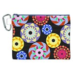 Colorful Retro Circular Pattern Canvas Cosmetic Bag (XXL) Front