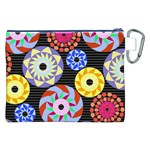 Colorful Retro Circular Pattern Canvas Cosmetic Bag (XXL) Back