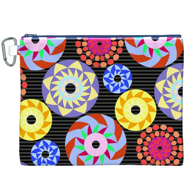 Colorful Retro Circular Pattern Canvas Cosmetic Bag (XXXL)
