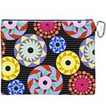 Colorful Retro Circular Pattern Canvas Cosmetic Bag (XXXL) Back