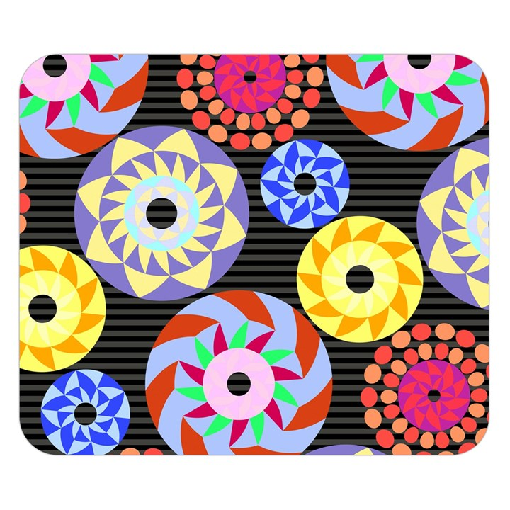 Colorful Retro Circular Pattern Double Sided Flano Blanket (Small)