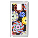 Colorful Retro Circular Pattern Samsung Galaxy Note 4 Case (White) Front