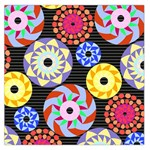 Colorful Retro Circular Pattern Large Satin Scarf (Square) Front