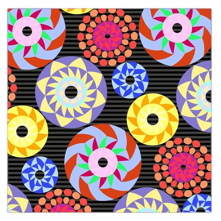Colorful Retro Circular Pattern Large Satin Scarf (Square)