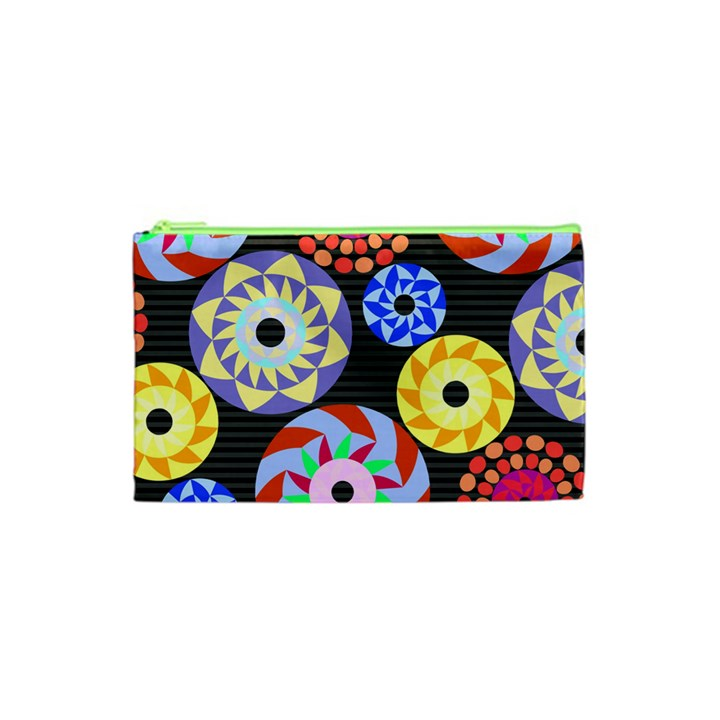 Colorful Retro Circular Pattern Cosmetic Bag (XS)