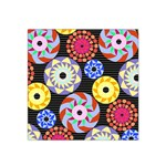 Colorful Retro Circular Pattern Satin Bandana Scarf Front