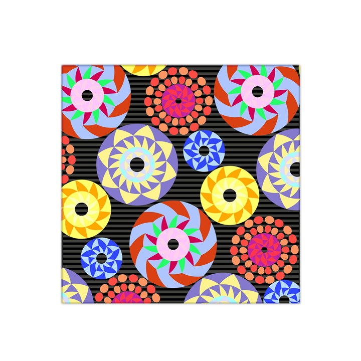 Colorful Retro Circular Pattern Satin Bandana Scarf