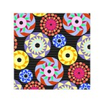 Colorful Retro Circular Pattern Small Satin Scarf (Square)  Front