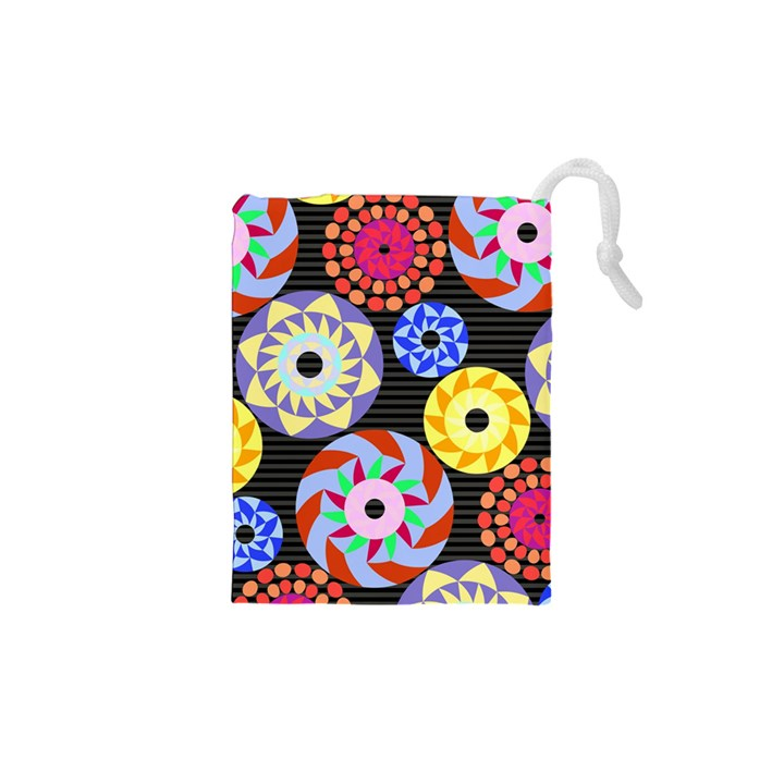 Colorful Retro Circular Pattern Drawstring Pouches (XS)