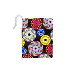 Colorful Retro Circular Pattern Drawstring Pouches (XS)  Back