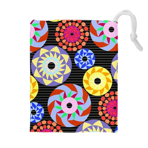Colorful Retro Circular Pattern Drawstring Pouches (Extra Large)