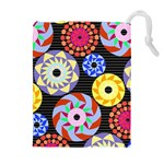 Colorful Retro Circular Pattern Drawstring Pouches (Extra Large) Front
