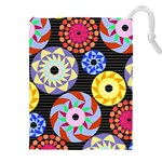 Colorful Retro Circular Pattern Drawstring Pouches (XXL) Front