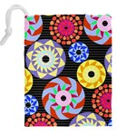 Colorful Retro Circular Pattern Drawstring Pouches (XXL) Back
