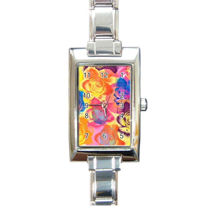 Pop Art Roses Rectangle Italian Charm Watch